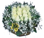 Hatay kaliteli taze ve ucuz çiçekler  Beyaz harika bir gül sepeti