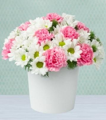 Seramik vazoda papatya ve kır çiçekleri  Hatay çiçek servisi , çiçekçi adresleri