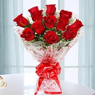 11 adet kırmızı gülden görsel şık buket  Hatay anneler günü çiçek yolla