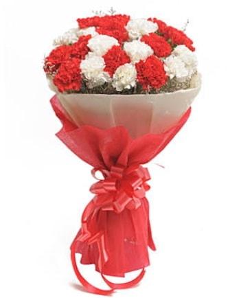 21 adet kırmızı beyaz karanfil buketi  Hatay uluslararası çiçek gönderme