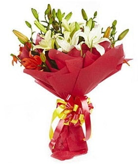 5 dal kazanlanka lilyum buketi  Hatay çiçek siparişi vermek