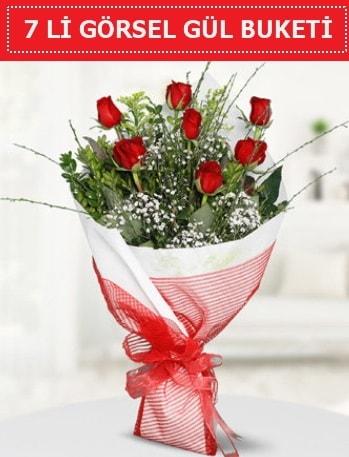 7 adet kırmızı gül buketi Aşk budur  Hatay uluslararası çiçek gönderme