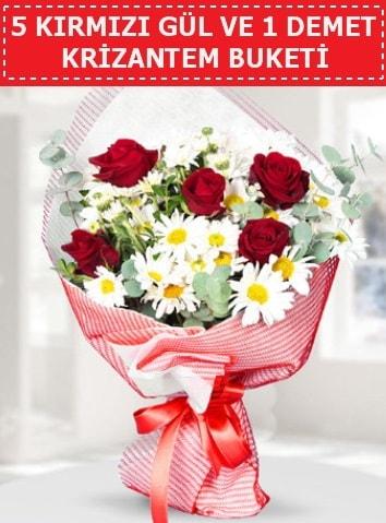 5 adet kırmızı gül ve krizantem buketi  Hatay uluslararası çiçek gönderme