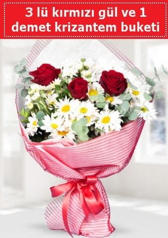 3 adet kırmızı gül ve krizantem buketi  Hatay çiçek siparişi vermek