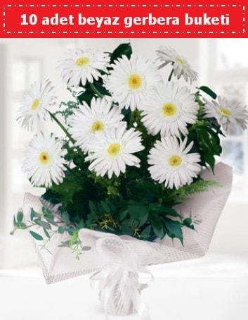 10 Adet beyaz gerbera buketi  Hatay 14 şubat sevgililer günü çiçek