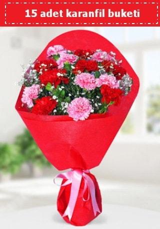 15 adet karanfilden hazırlanmış buket  Hatay İnternetten çiçek siparişi