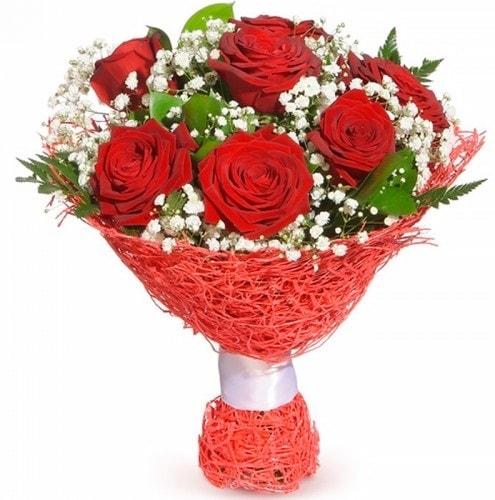 7 adet kırmızı gül buketi  Hatay kaliteli taze ve ucuz çiçekler