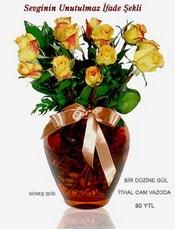 Hatay çiçek mağazası , çiçekçi adresleri  mika yada Cam vazoda 12 adet sari gül